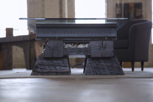 worn coffee table with salvaged steel and timber for home, den, living room, family room