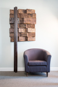 first edition museum quality sculpture natural wood and steel industrial style for executive office or luxury home