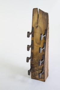 wedge wood rustic modern design wine rack from repurposed salvaged metal and wood