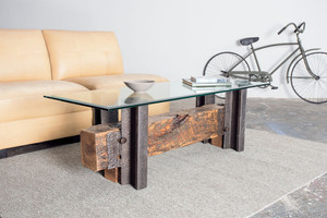 custom designed hand crafted steel coffee table