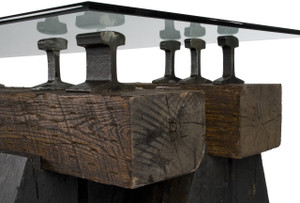 Hardwood timbers and reclaimed vintage steel industrial artifacts from historic abandoned railroad lines.