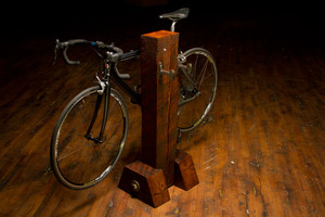 bike on reclaimed hardwood bicycle rack for urban renewal loft condo or apartment