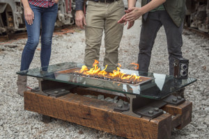 Railroad-themed fire pit with Harmon/Kardon speakers and Bluetooth-enable technology. For propane or natural gas installations available now!