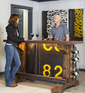 Graffiti-backed Custom Made Industrial Style Bar for Home or Restaurant