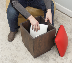 Storage Ottoman with Signal Red Leather Seats