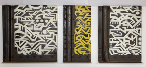 Calligraffiti Triptych on Sections of Railcar