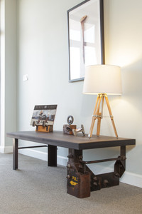reclaimed industrial railcar coffee table