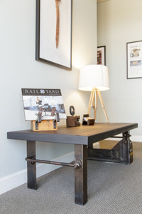 vintage industrial design coffee table from railcar and train