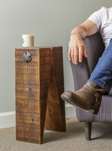 Modern industrial style simple side table with wood timbers and steel accents