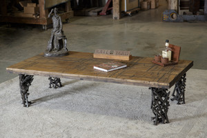 Simple Boxcar Table with Railroad Spike Legs