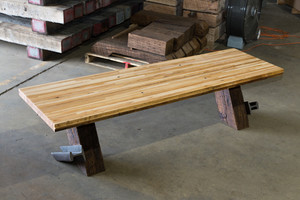 Coffee table with hard maple tabletop and cantilever style legs