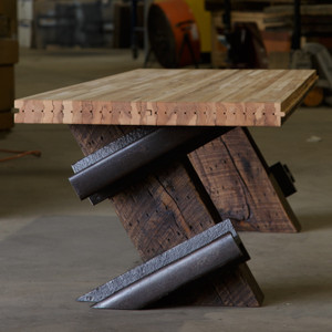 Versatile coffee table or bench with Modern Industrial style from reclaimed railway components.