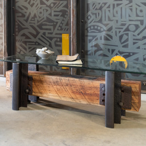 Modern industrial vintage railroad coffee table from cherry timber