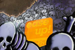 ease up railcar hopper graffiti covered ichabod panel