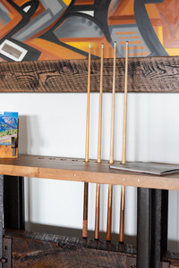 Industrial design maple top railroad pool cue side table