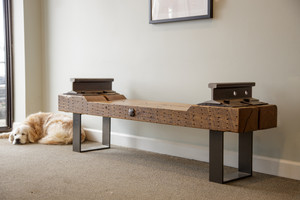 Industrial railroad style bench with dog