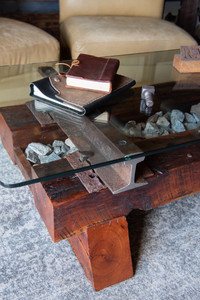 executive office solid cherry trestles with railroad ballast glass top coffee table
