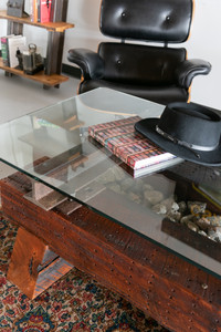 Executive style unique timber steel coffee table
