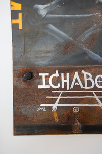 ICHABOD Circle T white on black and rust graffiti