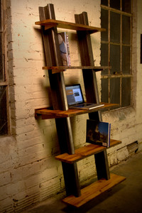 leaning wall bookshelf salvaged hickory wood and steel