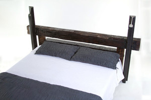 oversized headboard footboard bed heavily distressed solid wood timber and steel upright posts