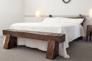 massive wood beam headboard and footboard bed from salvaged oak hardwood timber