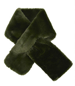 Neck Wrap Faux Fir - Olive Green