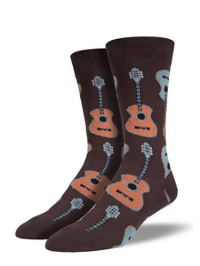 Perfect for the guitar enthusiast! Gather 'round the campfire and strum along with these musical socks!  One Size Fits Most Men Fiber Content: 70% Cotton, 27% Nylon, 3% Spandex