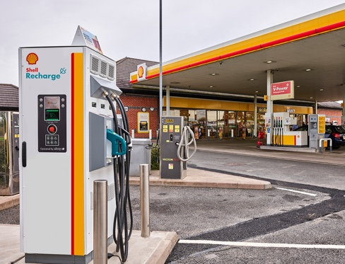 A 50kW rapid charge point on a Shell forecourt.