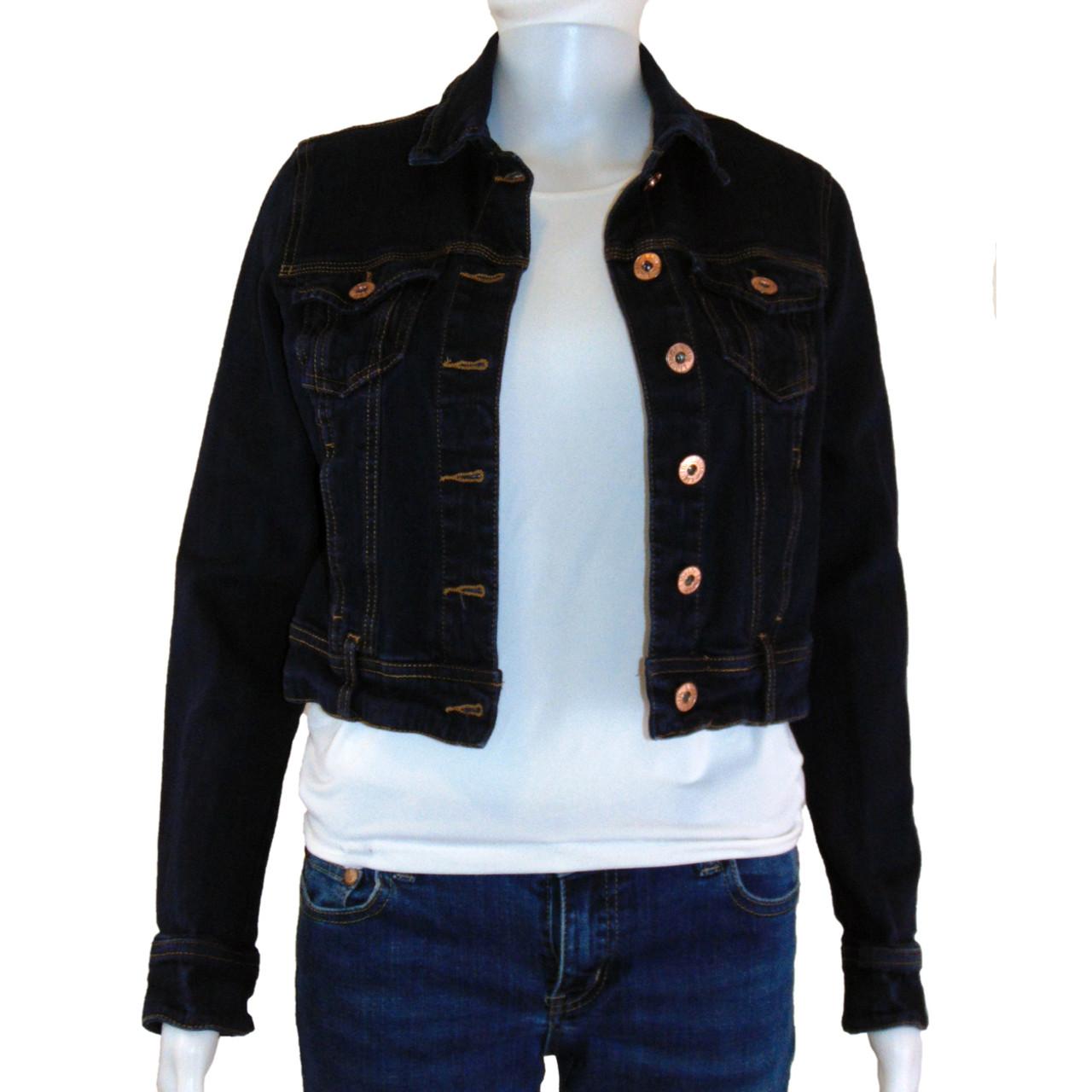 c40247b0a8a7 Liquidx Jeans Dark Denim - Brassy Button Down - 4 Pocket Jean Jacket