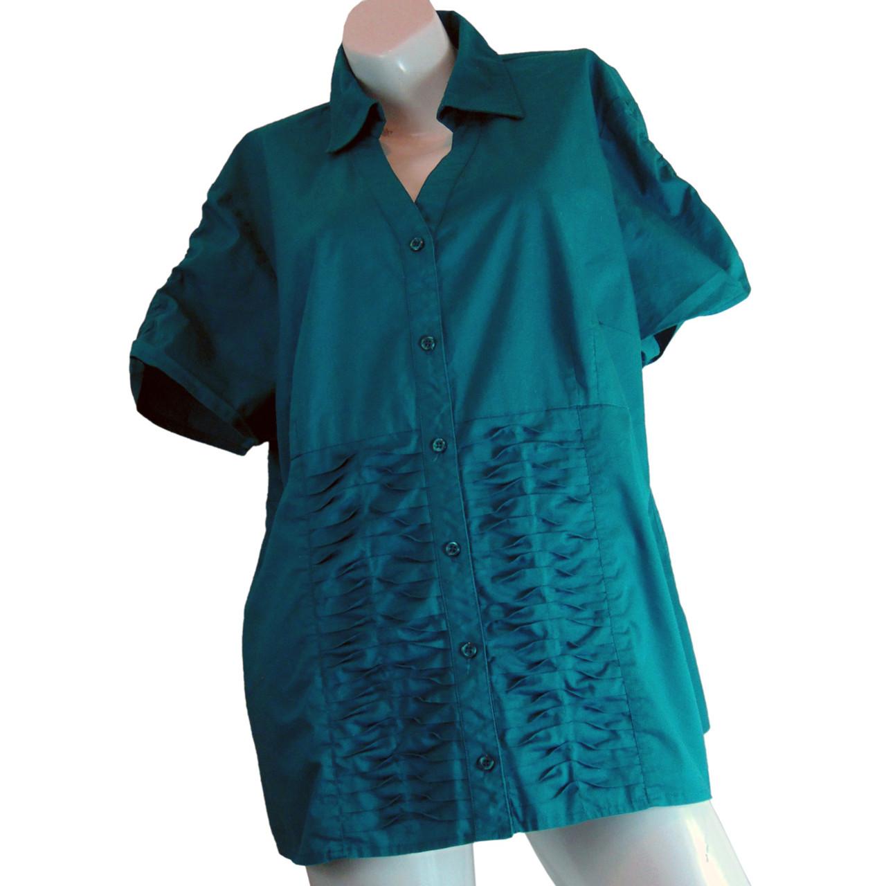 99afec4f2d0e Addition Elle Versatile Turquoise Elastic Ruched Button Up Blouse