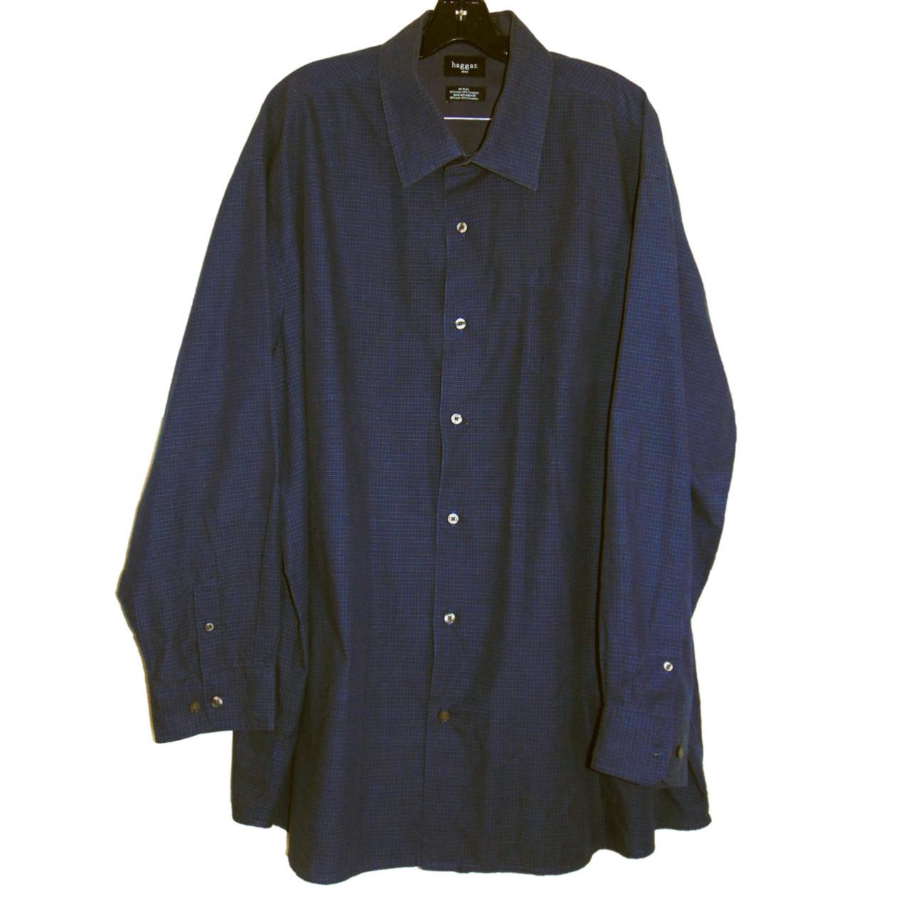 15ab37a5274 Hagar 1926 Checker Blue Long Sleeve Dress Shirt