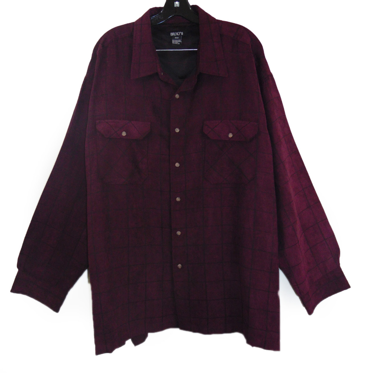083cab86c3f Bruno Burgundy Checkered Casual Shirt Size 3X