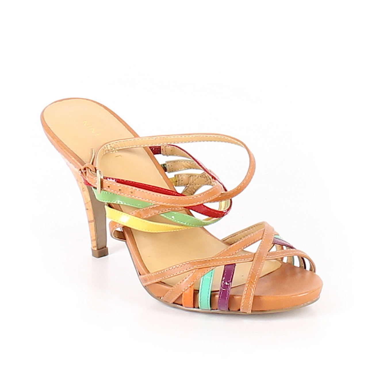 ade1b3299 Nine West Multi Color Open Toe Strappy Sandals