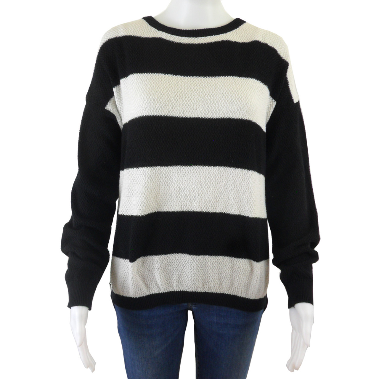 release date f90f6 fe8b8 Blue Pullover Striped Sweater with Sheer Back Size L - NWOT
