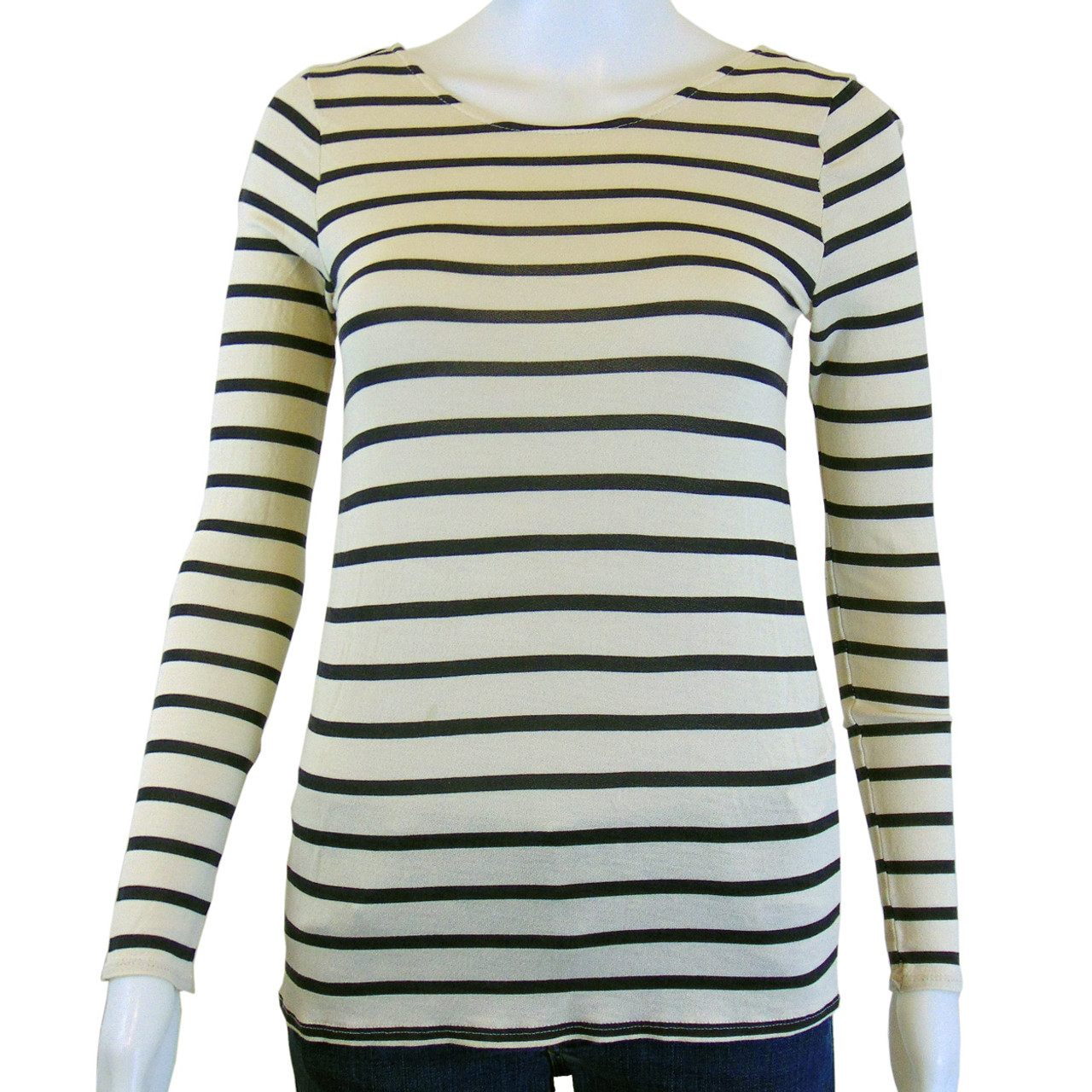 b9507778 Zara T-shirt Collection Black and Beige Striped Tee