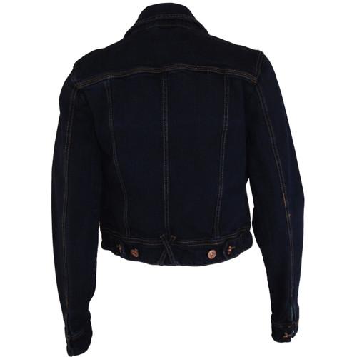 433f36e33d8e ... Liquidx Jeans Dark Denim - Brassy Button Down - 4 Pocket Jean Jacket ...