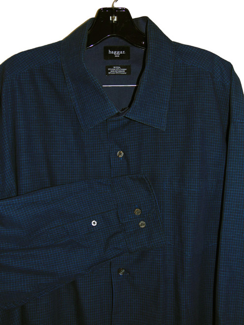 2cd1284fdeb ... Hagar 1926 Checker Blue Long Sleeve Dress Shirt ...