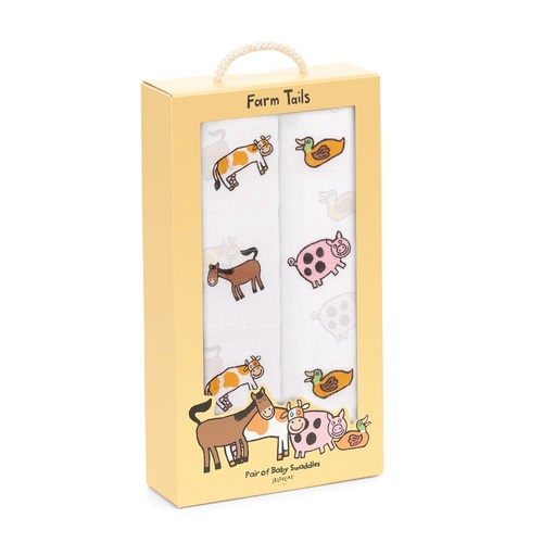 Farm Tails Baby Swaddles by Jellycat