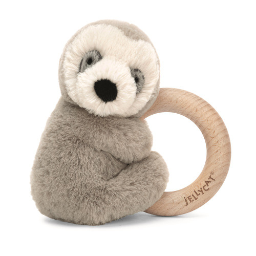 Shooshu Sloth Wooden Ring Baby Rattle by Jellycat