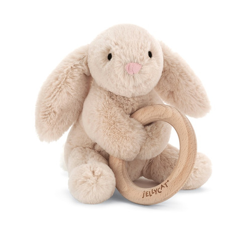 Shooshu Bunny Wooden Ring Baby Rattle by Jellycat