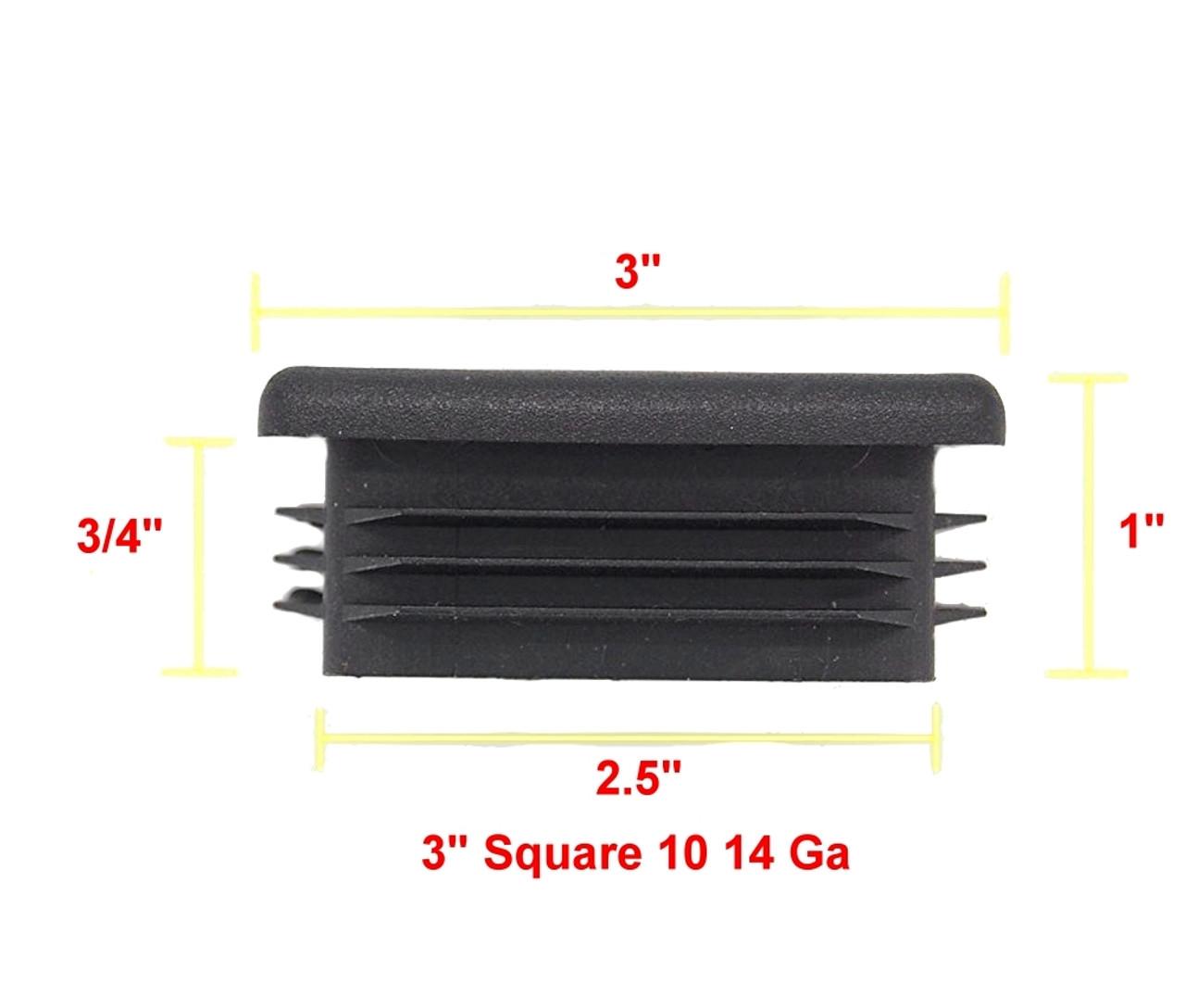 "4 Pack 2/"" Square Tube Plug Ribbed Insert End Cap Glides 2/""x2/"" 10-14 ga"