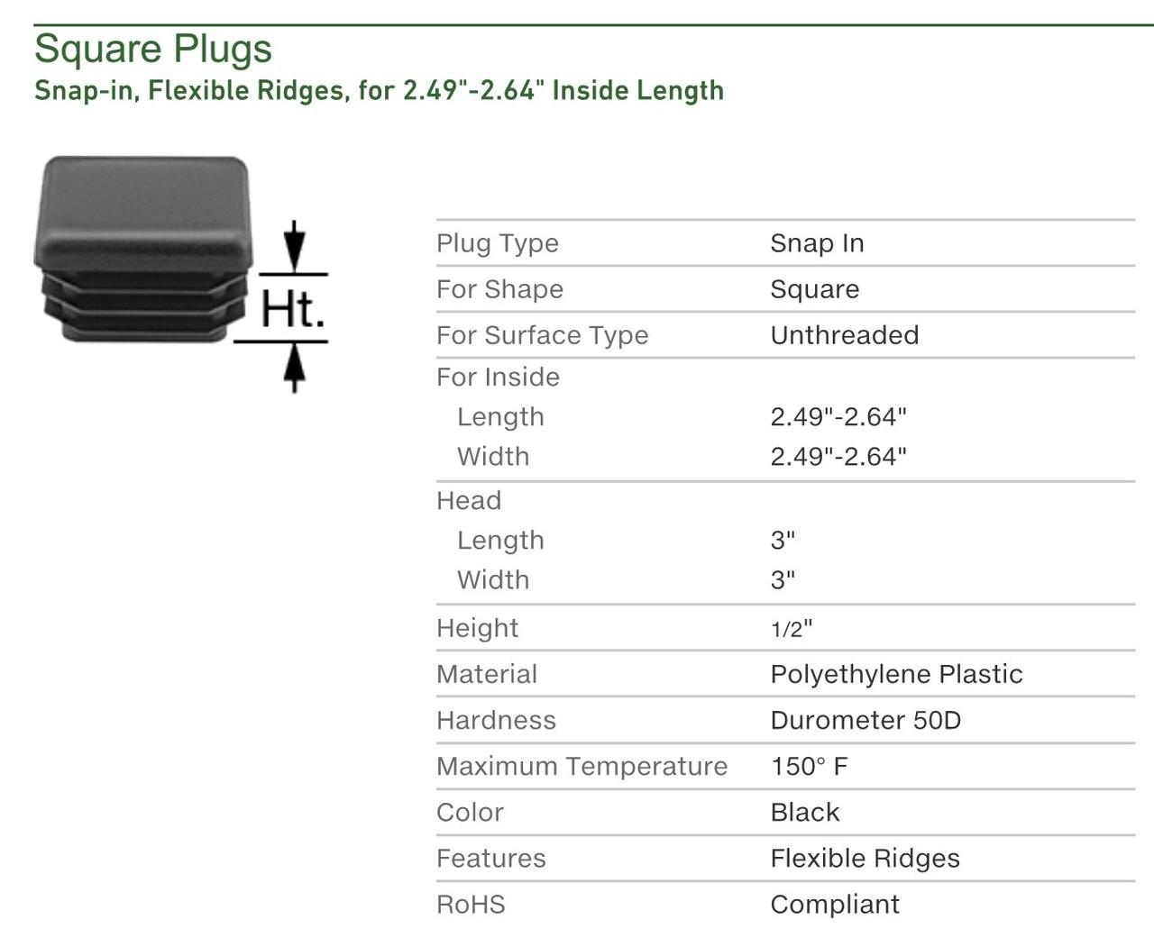 "1 X 2 INCH RECTANGLE TUBING PLUG//END CAP 1/"" X 2/"" QUANTITY 200"