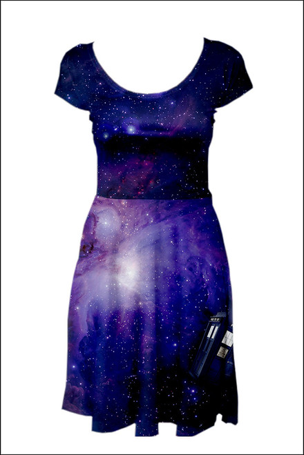 Galaxy Police Box Reversible Cap Sleeve Skater