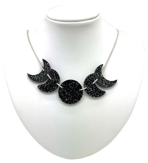 Lunar Phases Necklace - Black with Silver Glitter