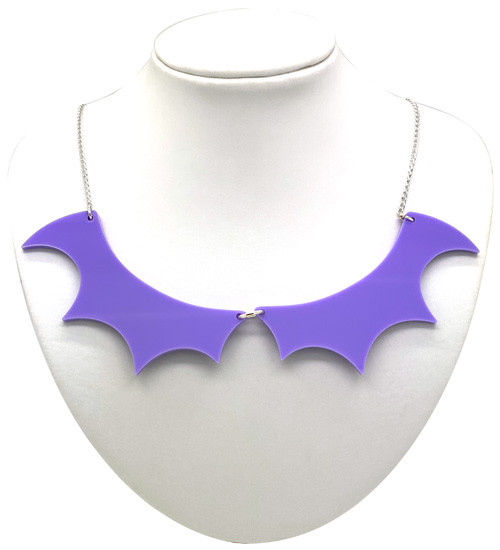 Bat Wing Collar Necklace - Pastel Purple