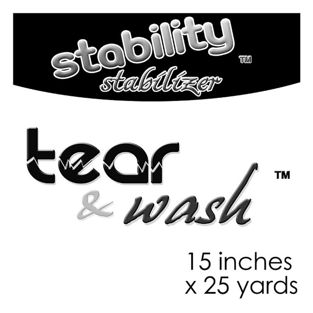 """Stability Stabilizer - Tear and Wash 15"""" x 25 Yard Roll"""