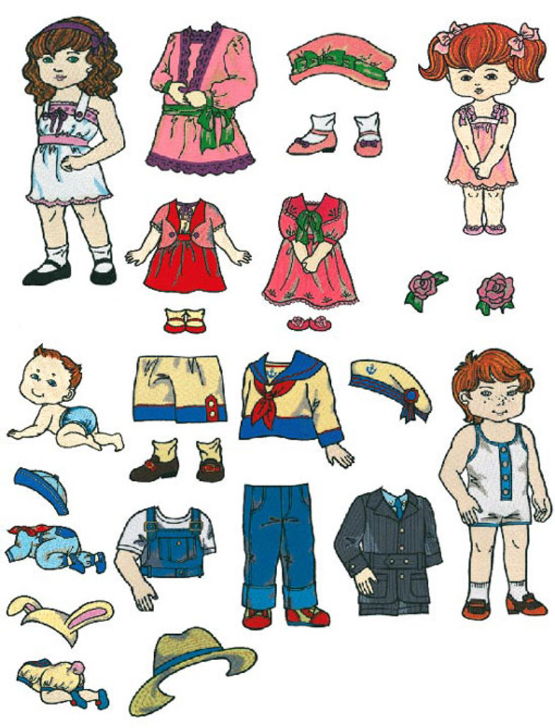 Brother Embroidery Card SA351 No.51 - Paper Dolls