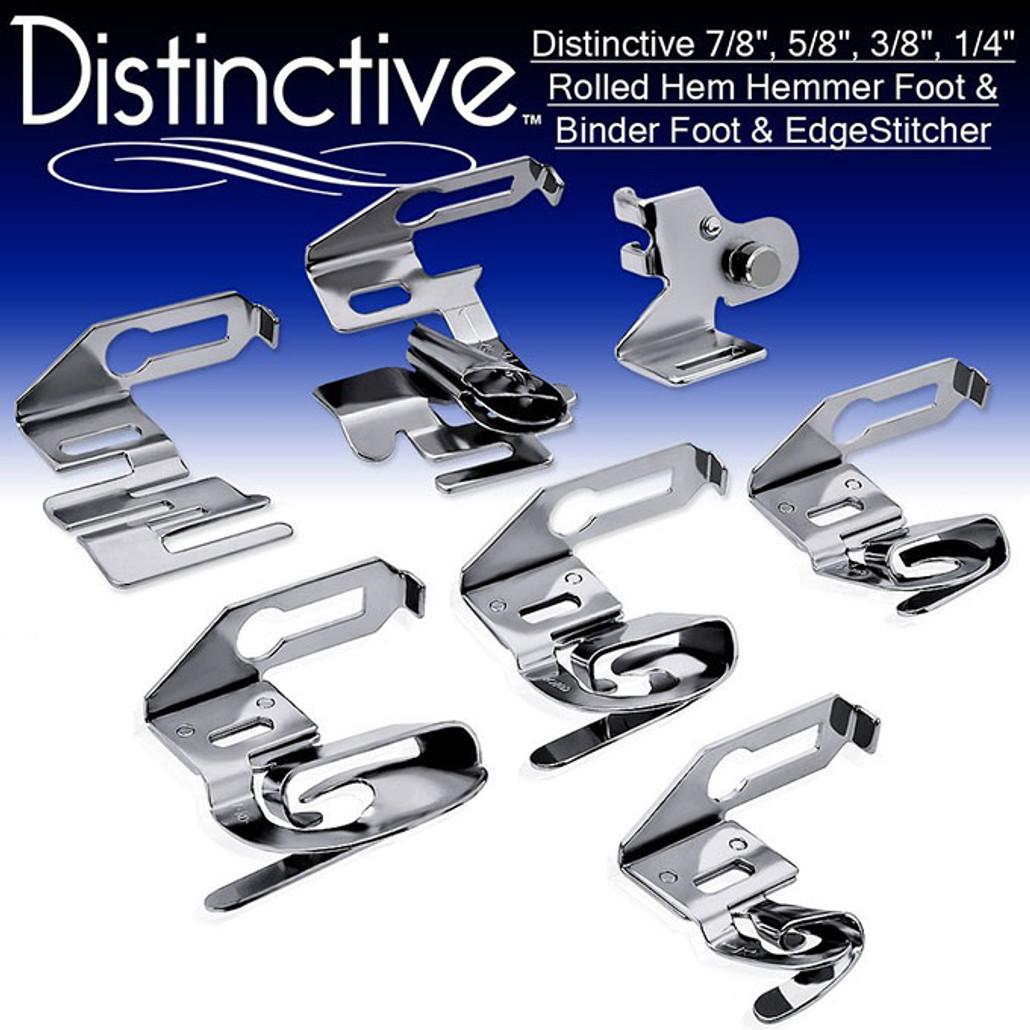 "Distinctive 7-8"", 5-8"", 3-8"", 1-4"" Rolled Hem Hemmer Foot & Binder Foot & EdgeStitcher Sewing Foot Package w/ Free Shipping"