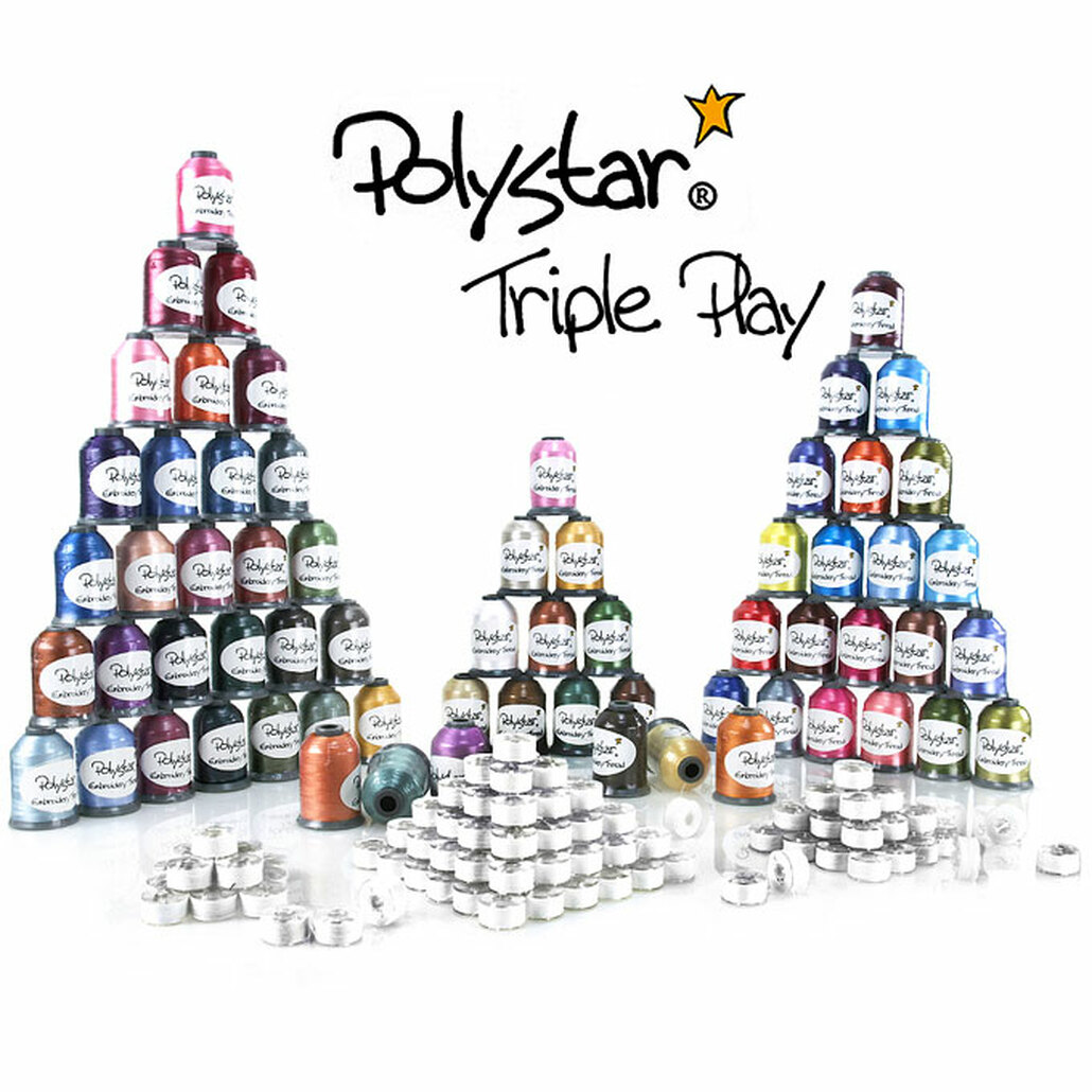 Polystar Triple Play Embroidery Thread Package w/ Country Colors, Nick Colors and FREE!!! Prewound Bobbins